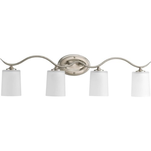 Progress Lighting P2021-09 Inspire Collection 4-Light Vanity Fixture, Brushed Nickel (Sconce Nickel Progress Brushed Lighting)