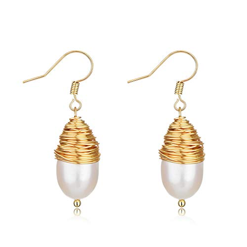 Pearl Stud Dangling Gold Earrings,White Baroque Pearl Earrings Hook Teardrop Pearls,Baroque Jewelry for Mother