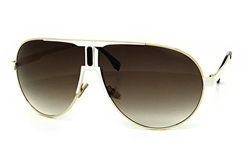 O2 Eyewear 7175 Premium Oversized Teardrop Aviator Matte Finish Metal Frame Tint Lenz Vintage Retro Flat Top Sunglasses (WHITE/BROWN, - The Tint That Sun Glasses In