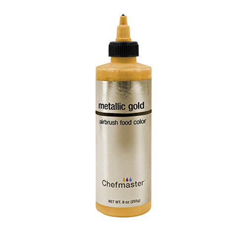 Chefmaster by US Cake Supply 9-Ounce Airbrush Cake Food Color Metallic Gold
