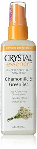 Crystal Deodorant Essence Spray 4 Ounce Chamomile/Green Tea (118ml) (3 Pack)