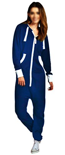 SKYLINEWEARS Women's Ladies Onesie Hoodie Jumpsuit Playsuit Medium Royal Blue -
