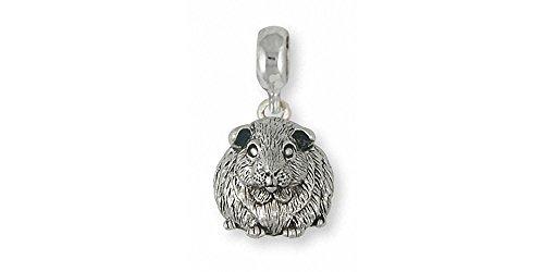 Guinea Pig Jewelry Sterling Silver Guinea Pig Charm Slide Handmade Piggie Jewelry GP12X-PNS