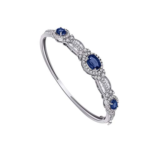 - 10K White Gold Multi-Shape Gemstone & 1.61 Ct Diamond 3-Stone Style Halo Bangle Bracelet (blue-sapphire & real diamond)