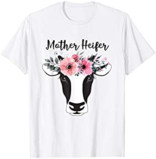 Perfect Gift Mother Heifer Floral  Mother's Day Gift For Mother Need Funny TShirt / Navy / S - 5XL