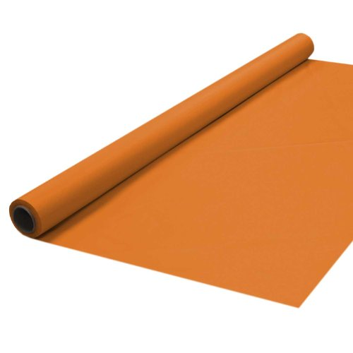 """Party Essentials Plastic Banquet Table Roll Available in 27 Colors, 40"""" x 100', Tangerine"""