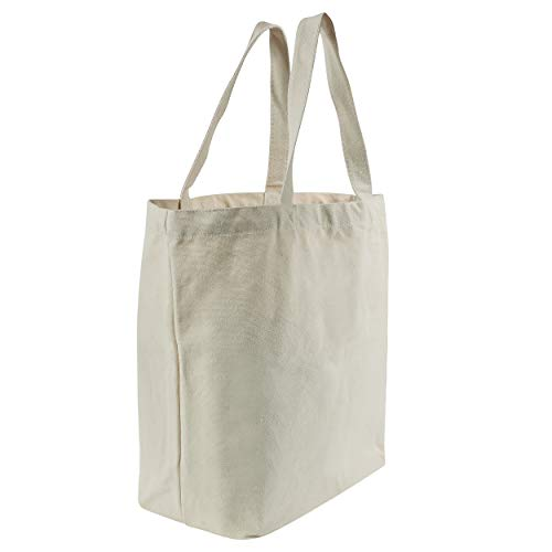 HYP CREATIONS Tuff Canvas Tote Bag (2 Pack) | Premium Quality Large Heavy-Duty Canvas Bag with Gusseted Flat Bottom | Perfect for Reusable Grocery Bags | Teacher Book Bags | Beach Bags ()