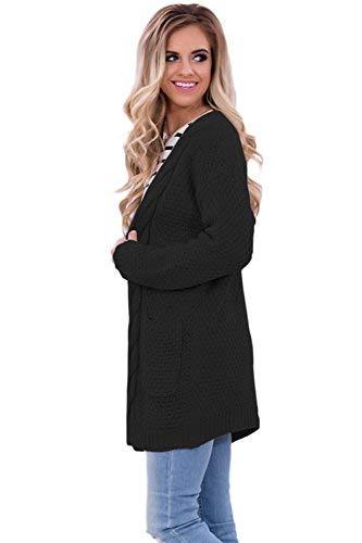 Schwarz Eleganti Retro Women Monocromo Cappotto Autunno Casual Con Primaverile Outerwear Manica Moda Tasche A Lunga Festiva Maglia Cardigan Giovane Giacca Donna wwFzXRq