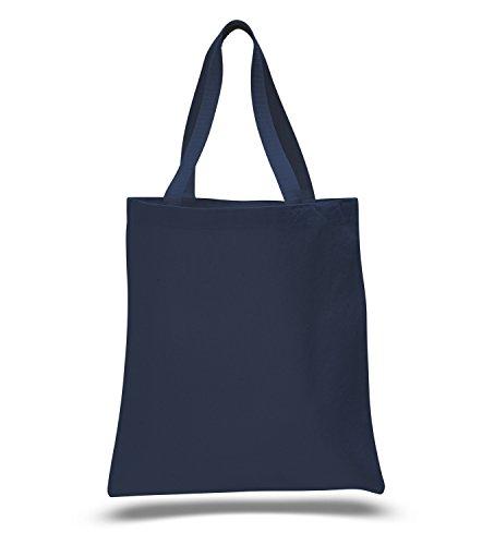 (12 Pack) 1 Dozen - Heavy Cotton Canvas Tote Bag (Navy)