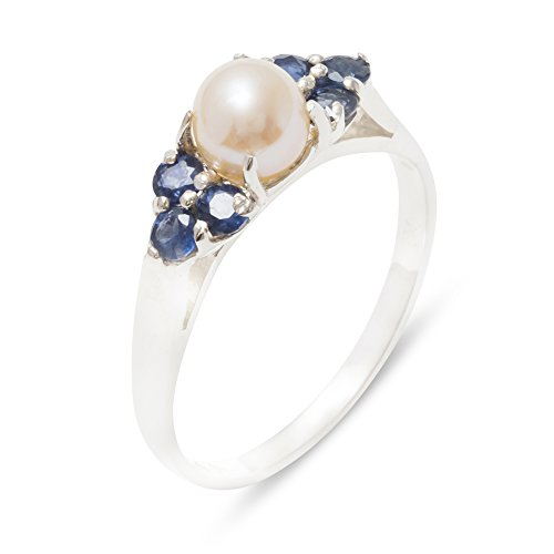 (925 Sterling Silver Cultured Pearl & Sapphire Womens Cluster Band Ring - 6.75 - Size 6.75)