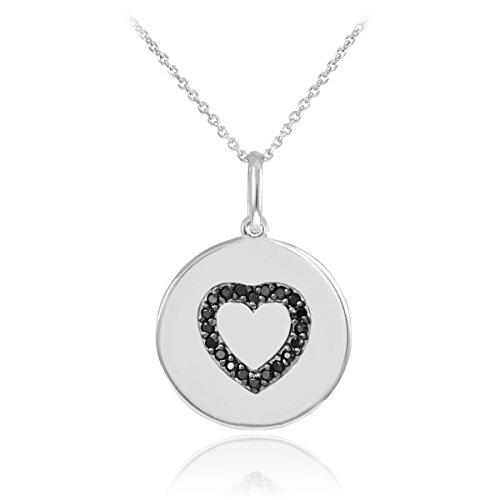 14 ct 585/1000 Or Blanc Coeur Noir Diamant Disc Collier