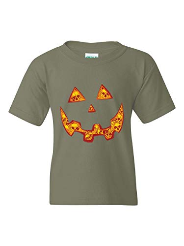 Halloween Costume Pumpkin Face Unisex Youth Kids T-Shirt (YXSMG) Military Green