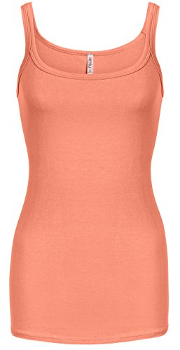 Coral Tank Tops For Women Coral Workout Tank Tops Layering Coral Color (Tank Coral)