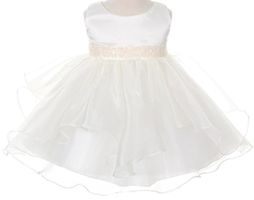 Ivory Embroidered Taffeta Dress - 7