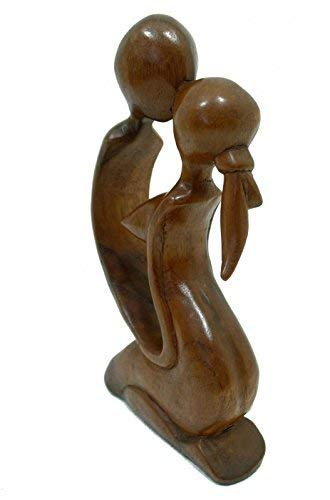 Terrapin Trading Balinese Wood Abstract Romantic Loving Couple Kiss Carving Statue Ornament Art
