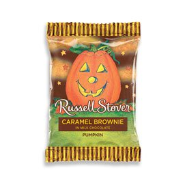 Russell Stover Milk Chocolate Bar, Caramel Brownie Pumpkin, 1 Ounce, 36 Count -