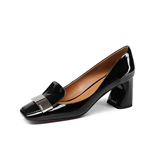 Genuine Leather Square Toe Square High Heels Slip-on Shoes Spring Pumps Black