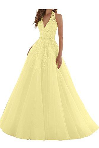 Ballkleider Braut Hell Glamour Promkleider Blau A La Ausschnitt Abiballkleider Prinzess Gelb Lang Linie mia V Abendkleider Spitze c8q5Sw1ZxS