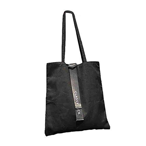 Canvas Tote Bag Black Print Design ASAPS (ClassyBlack)