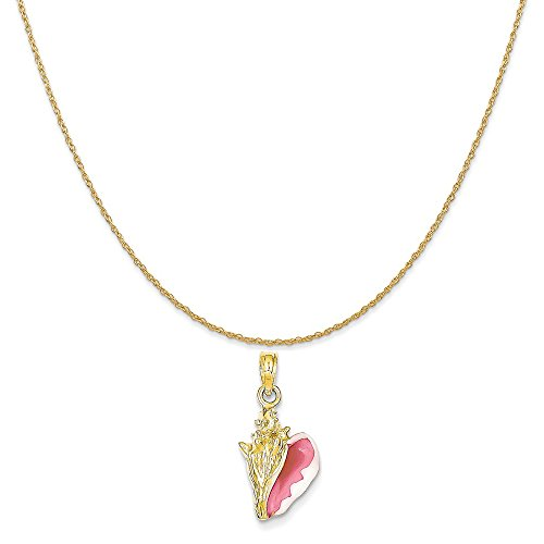 14k Yellow Gold Enameled 3-D Conch Shell Pendant on 14K Yellow Gold Rope Chain Necklace, (14k Gold Enameled Shells Charms)
