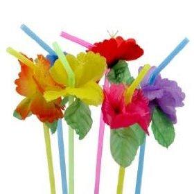 24 Simulated Silk Flower Straws Drinking Straws Tiki Luau