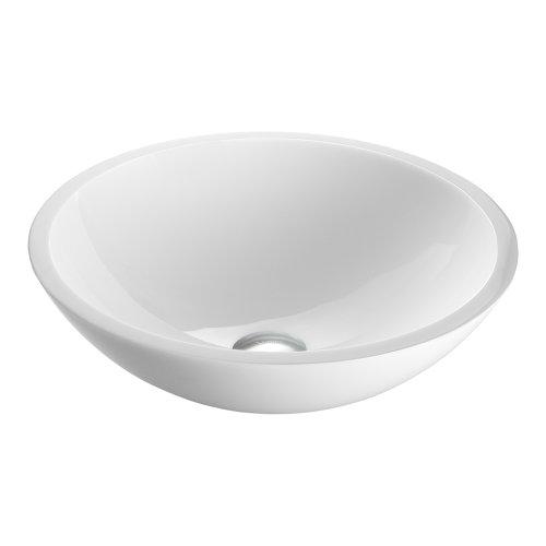 VIGO VG07041 Flat Edged White Phoenix Stone Glass Vessel Bathroom Sink