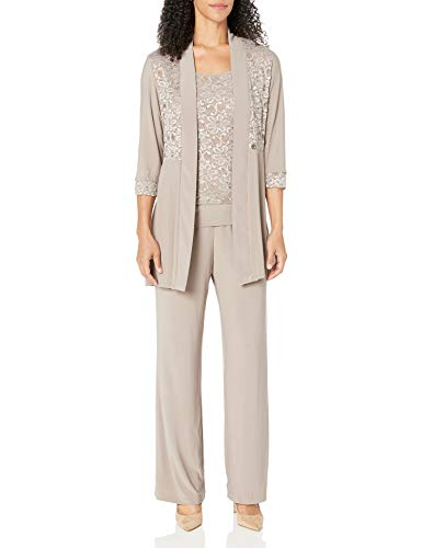 R&M Richards Women's Lace Pant Set, Mocha, 10