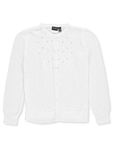 Rhinestone Trim Sweater - Nautica Big Girls' Rhinestone Cardigan - White, 12-14