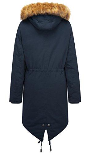 Manteau En Veste La Capuche Cordon Parka Coton Taille Marine D'hiver Grande Avec À Femme Wenven Longue Fourrure Bleu ZYqwXzY