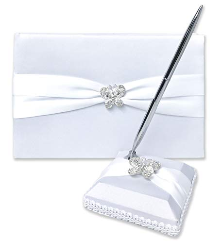 (Wedding Guest Book and Pen Set | Guest Book Wedding Set with Lined Pages for Sign in | Butterfly Rhinestone and White Satin with Classic Touch)