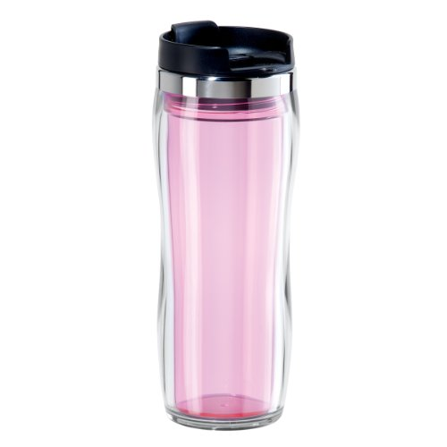 Oggi 8065.13 Fusion Double Walled Acrylic Travel Mug with Removable Tea Infuser, Pink