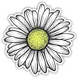 Daisy Flower Sticker for Car Truck Windows Laptop Any Smooth Surface Waterproof (White)