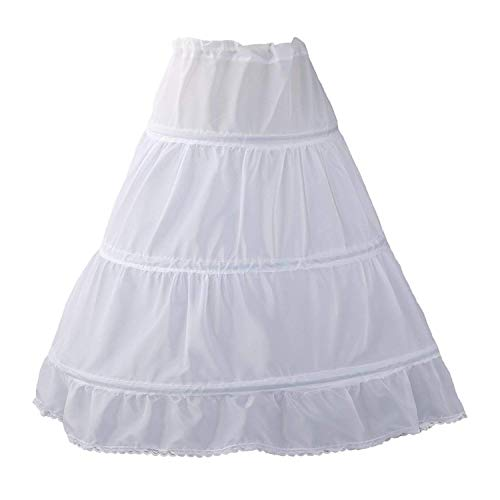 Puffy Skirts For Kids (WDE Puffy Crinoline Petticoat Skirt for Girls 3 Hoops Slip for Pageant Dress Gown)