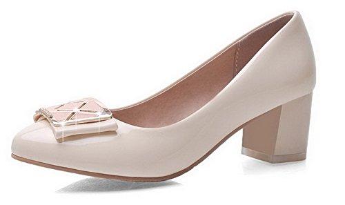 VogueZone009 Damen Ziehen auf Mittler Absatz Lackleder Rein Rund Zehe Pumps Schuhe Weiß