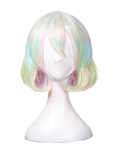 Diamond wig Cosplay Land of The Lustrous Costume Girls iridescent Bob Hair Anime -
