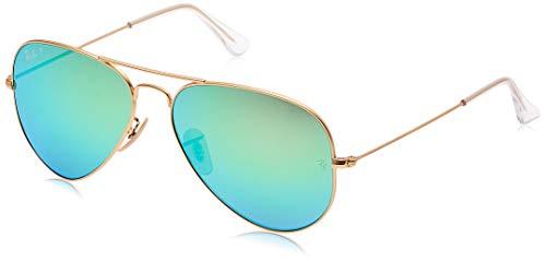 Ray-Ban RB3025 Aviator Flash Mirrored Sunglasses, Matte Gold/Polarized Green Flash, 58 mm (Ray Ban Aviator Green Polarized)