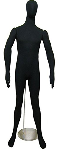 Soft Flexible Bendable Male Mannequin with Egg Head - black