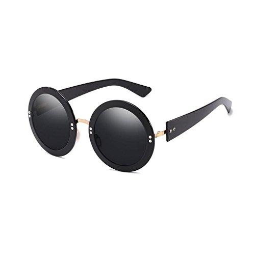 Visière Miroir Mme Lunettes Hommes Round Couleur Mode Sunglasses Film de Retro Sunglasses Personnalité Black GAOLIXIA Frame soleil 6ZqFq