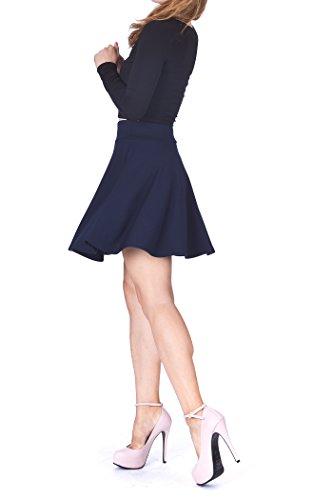 Swing Swing Wide High Waist A-line Full Flared Swing Skater Short Mini Skirt (S, Navy) (Line Wide Waistband)