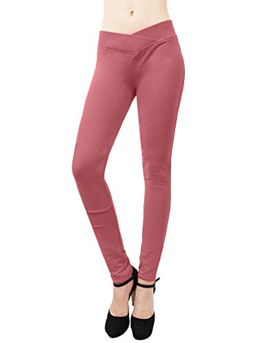 (J. LOVNY Women's Comfy Seagull Shaped High Elastic Waist Skinny Ponte Pants S-3XL)