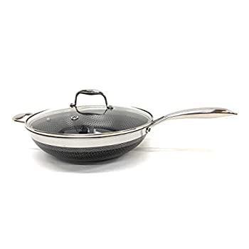 Image of HexClad 12 Inch Wok, Hybrid Stainless/Nonstick Inside and Outside Cookware, Commercial Bundle With Lid Home and Kitchen