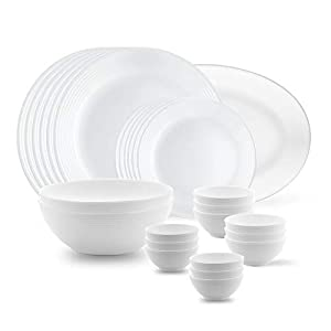 Larah by BOROSIL Opalware Dinner Set – 27 Pieces, White