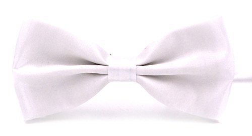 ssic Pre-Tied Satin Formal Tuxedo Bowtie Adjustable Length Large Many Colors Available (White) (Adjustable Tuxedo)