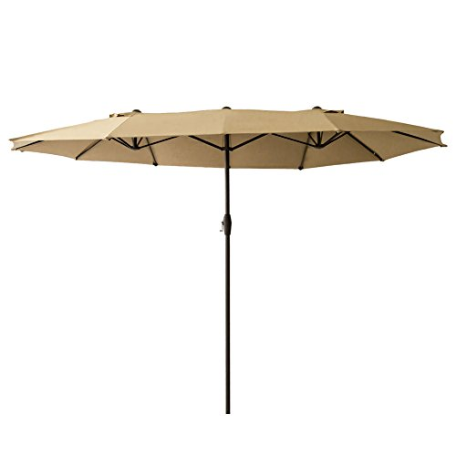 FLAME&SHADE 15' Twin Patio Outdoor Market Umbrella Double Sided for Balcony Table Garden Outside Deck or Pool, Rectangular, Beige