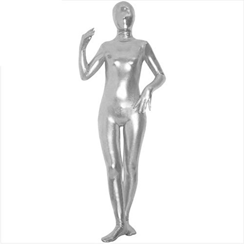 Muka Zentai Supersuit Halloween Costume Shiny Metallic Full BodySuit Dancewear SILVER-M