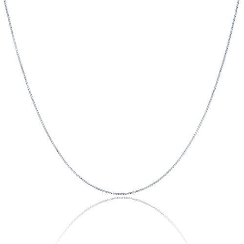 925 Sterling Silver 1.5 MM Box Chain Italian Crafted Necklace Sturdy Lightweight Strong - Rhodium Plated - Lobster Claw 24 (Rhodium Plated Sterling Silver Chain)