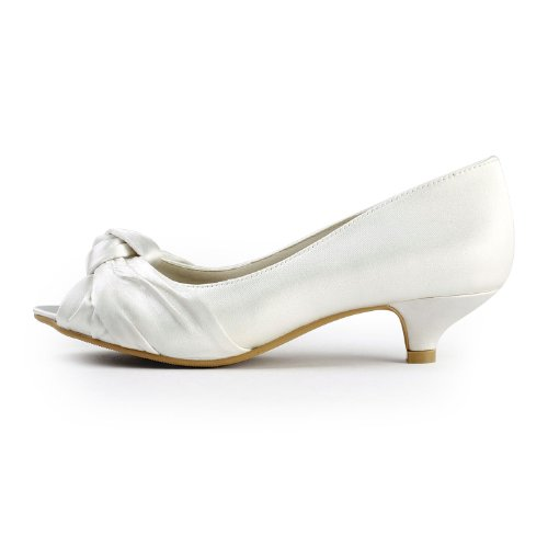 Toe Wedding Peep Low Bridal Ivory ElegantPark Pumps Satin Knot EP2045 Women Heel Shoes vn7qWWp0I