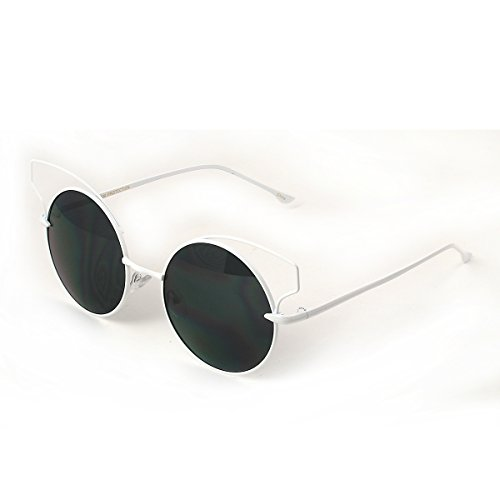 Brow Line Wire Rim Metal Frame Round Fashion Sunglasses - Glasses Wire Framed