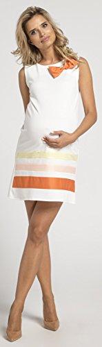 Maternity Orange HAPPY Dress Colorblock Womens Shift MAMA Clark Sleeveless 578p Chelsea Bow Front rIq74I