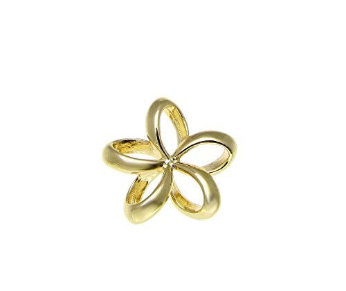 (Arthur's Jewelry 925 sterling silver yellow gold plated Hawaiian open floating outline plumeria flower slide pendant 13mm)
